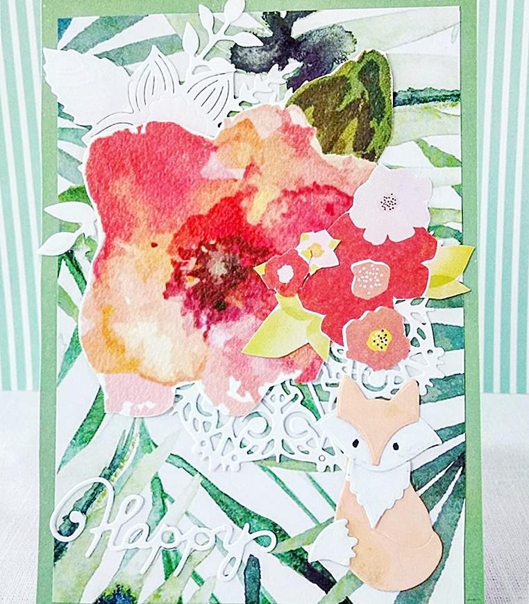 Kolorowa jesienna kartka z lisem na urodziny