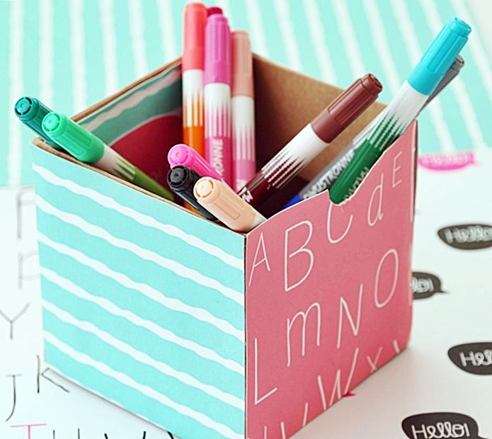 Pudełko na prezent jako przybornik na długopisy DIY