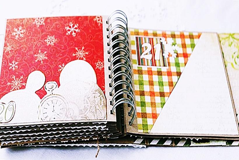 Strony w grudniowniku -albumie na dokumentowanie wspomnien z przygotowań do świąty